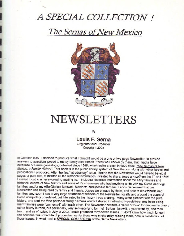 The Sernas of New Mexico NEWSLETTERS