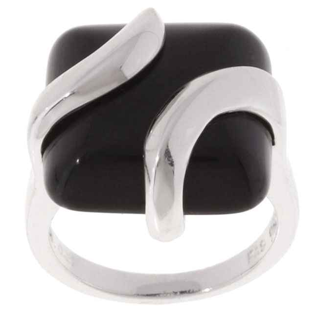 Sterling Silver Square Black Onyx Ring Fairyblingmother