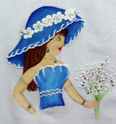 pintura em tecido boneca azul