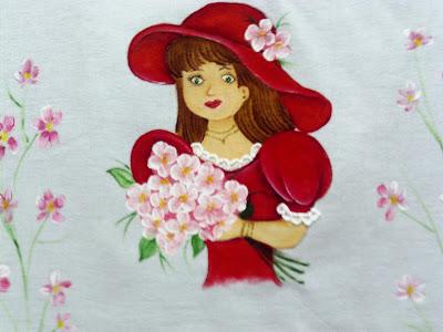 pintura em tecido boneca com vestido vermelho com saia de croche