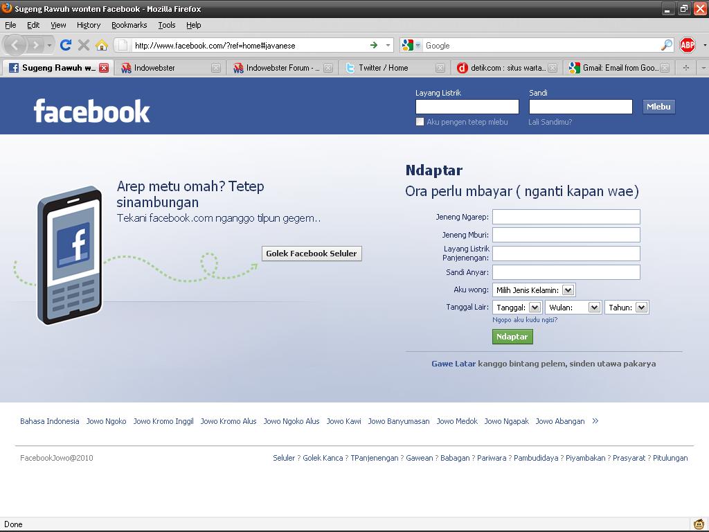 Facebook Tersedia Dalam Bahasa Jawa