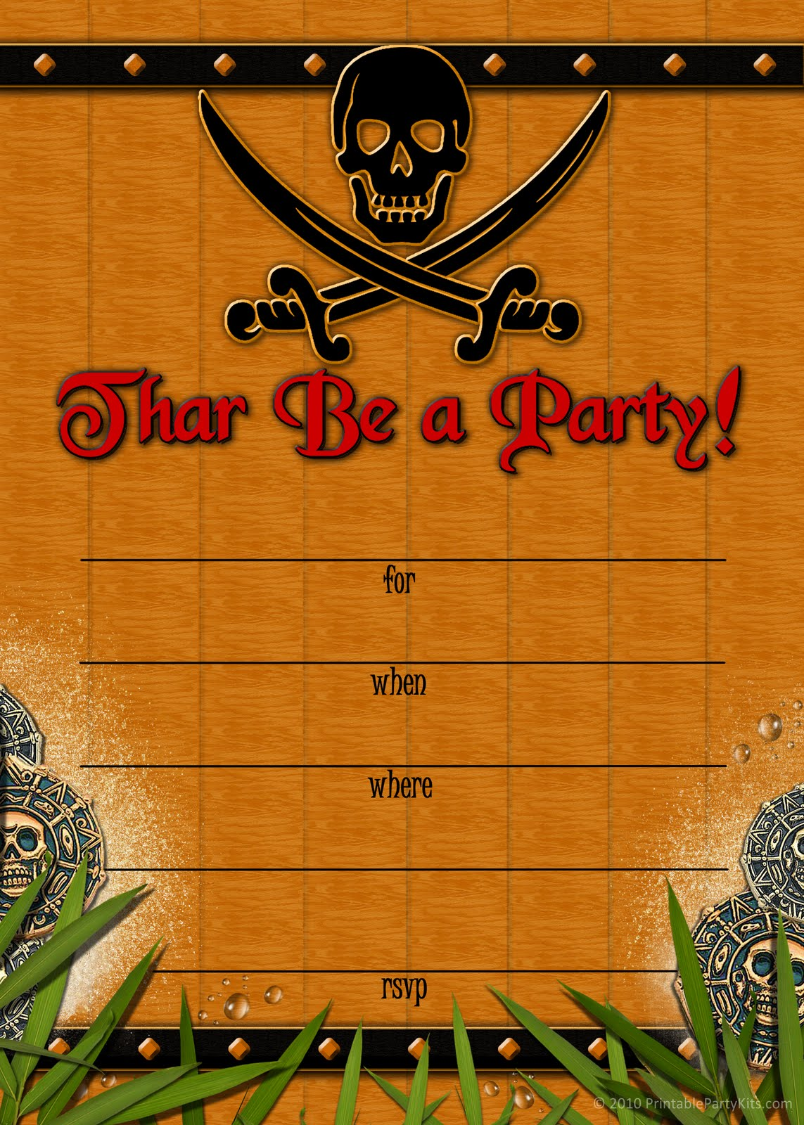 Free Printable Party Invitations: Skull and Crossbones Pirate ...