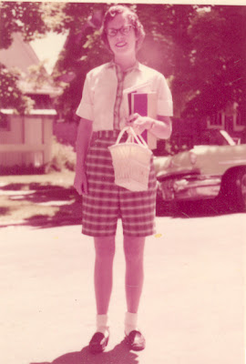 Auntie Mimi all ready for school.  Please note the basket purse that appears in BOTH photos.  I hear it was her favorite...