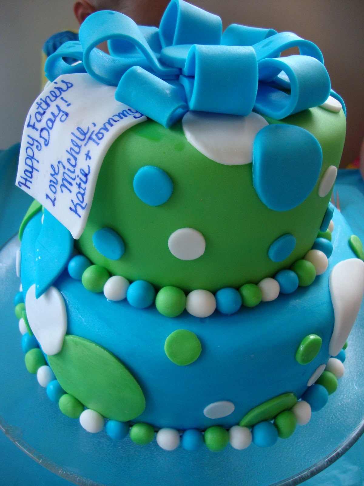 Whimsy Girls Cakes Blue Amp Green Polka Dot Cake