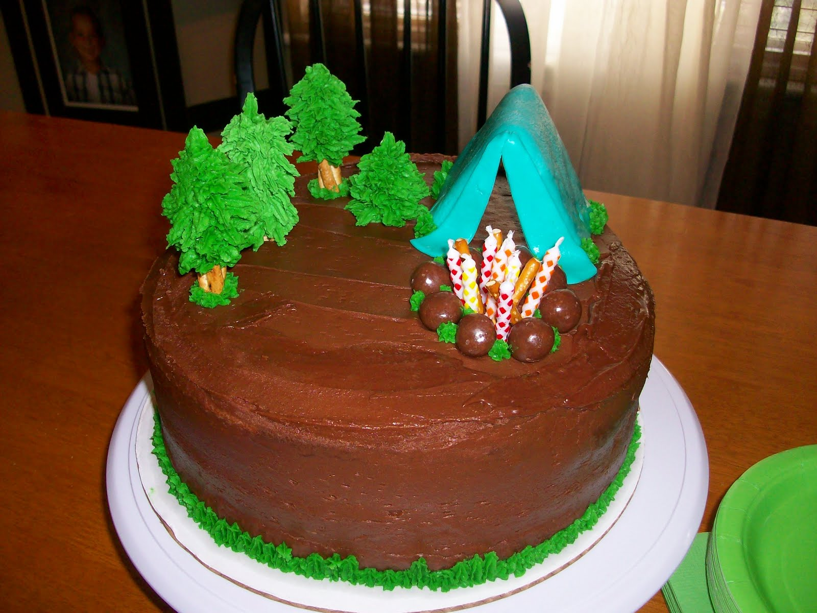 This Was Keldin 9th Birthday Cake We Had A Camping Themed Party Which Lot Of Fun