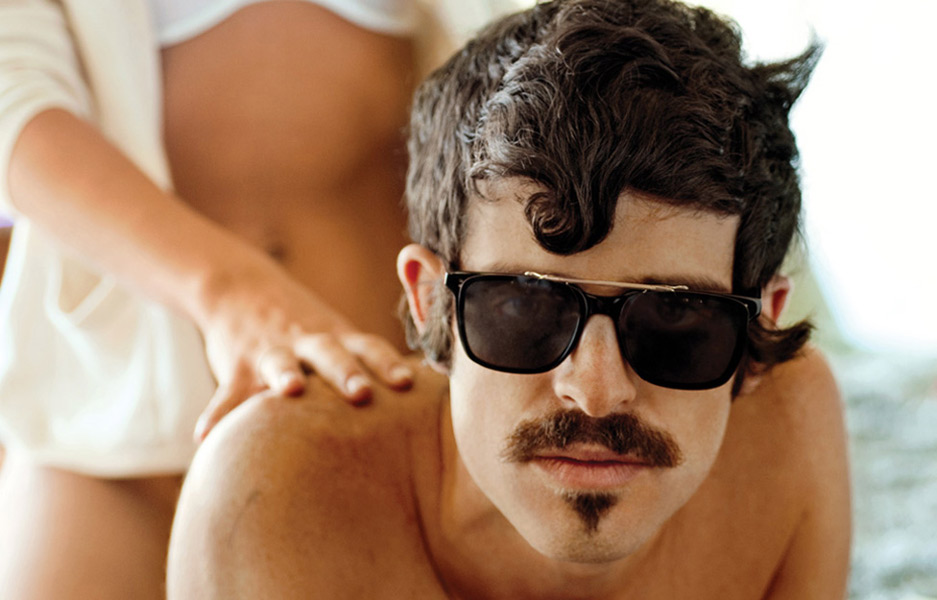 Oliver Peoples Eyewear 2011 ad campaign featuring Devendra Banhart wearing NDG-1 with a clip-on flip-up