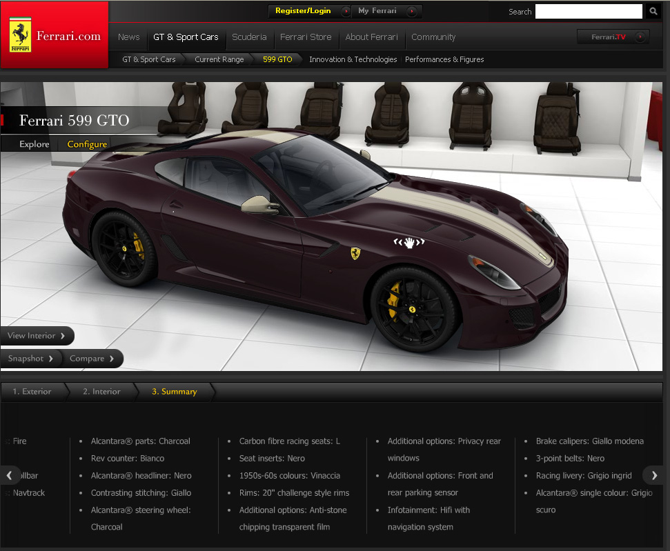 Festival Of Speed Exotic Car Configurator