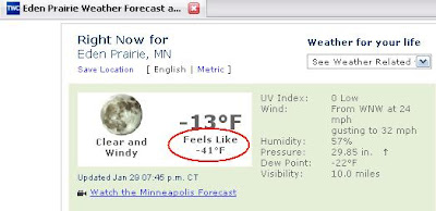 Screenshot from Weather.com. Feels like minus 41 F.