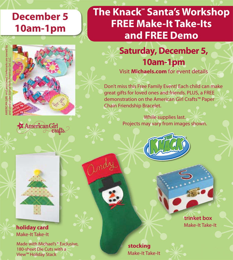 Michaels The Knack Santa S Workshop Free Family Friendly Event