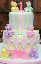 Pastel Zoo Animal Cake