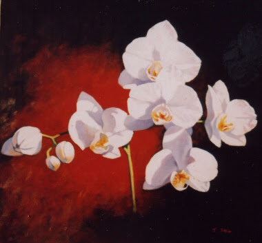White Orchid Flower on A Stretched Box Canvas. Posted by Girls Tattoo at 22:
