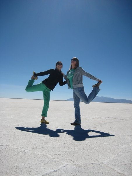 Lia and Lorna pose in the Salt Desert