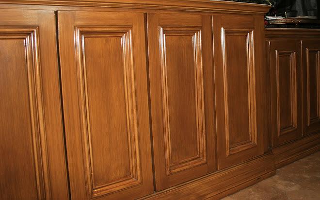 Buffet cabinet doors in faux walnut strie