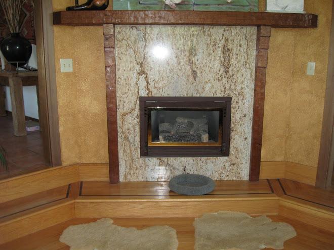 Wall glaze enhancing stone fireplace