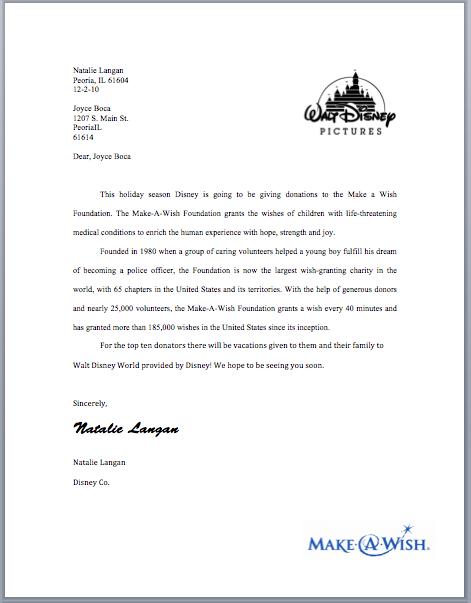 Natalie Langan: Charity Letter