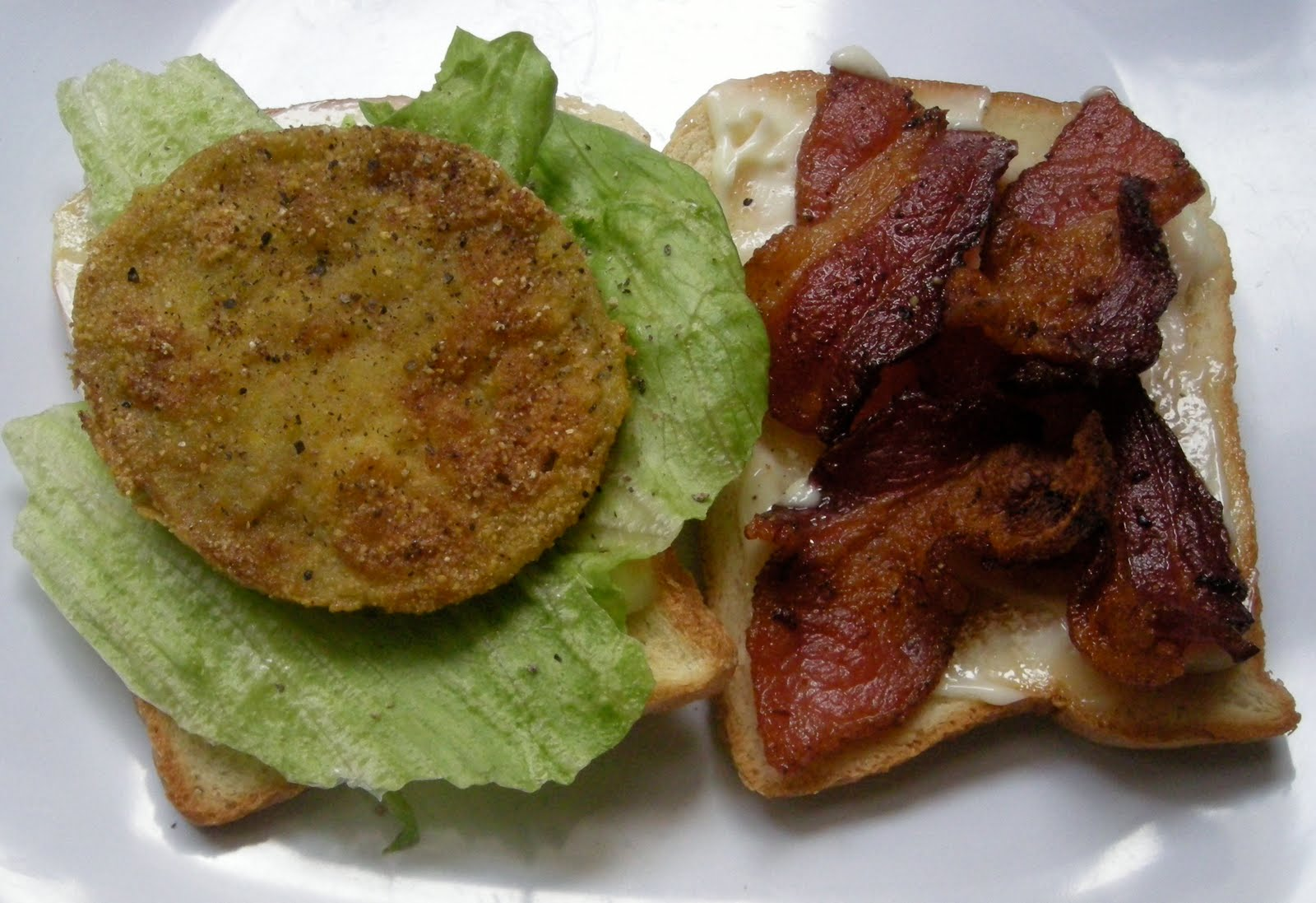 Uniquely Southern BLT with green Creole tomatoes