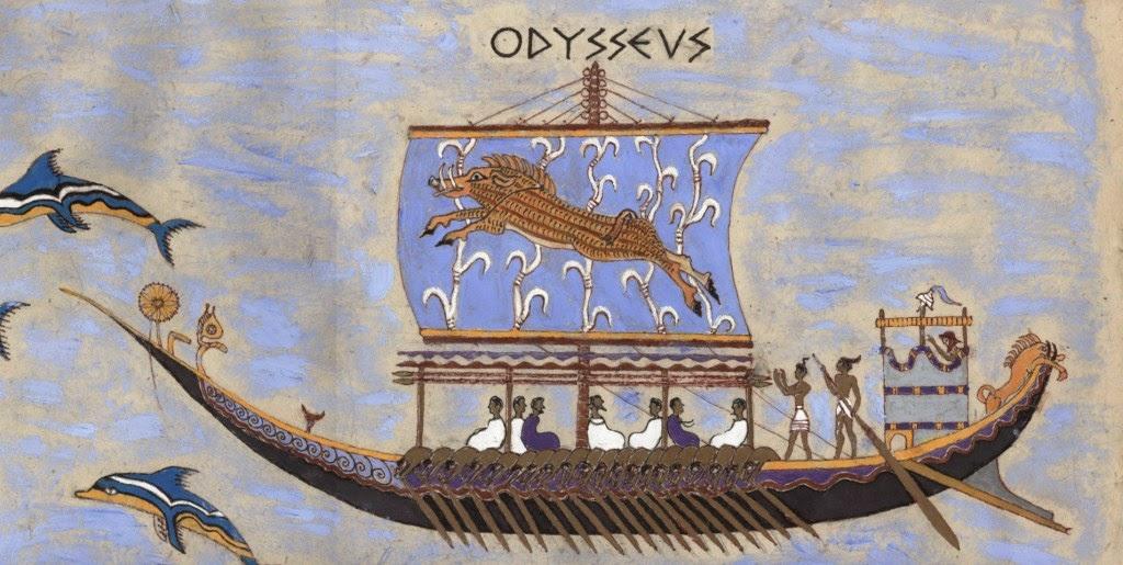 Odysseus on his ship