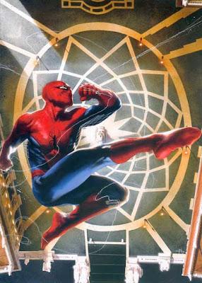 Spider-Man sorvola Piazza del Campidoglio in un dipinto di Gabriele Dell'Otto