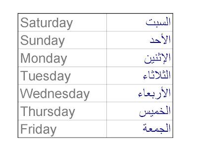 Arabic 4 Free: DAYS OF THE WEAK