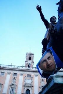 28 aprile 2008 festeggiamenti in Campidoglio per la vittoria di Alemanno sindaco di Roma