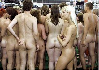 naked shoppers, guerrilla marketing