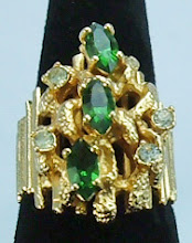 Faux Emerald and Rhinestone Ring