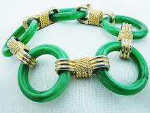 Asian Look Faux Jade Circles Bracelet