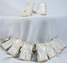 1950s White Confetti Bracelet and Ear Clips