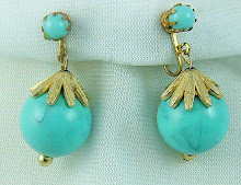 Fab Faux Turquoise Earrings with Gold accents