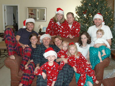 okay so this year she decided that was way too many pairs of pajama pants to sew so every family was responsible for their own matching pajamas - Christmas Pajama Party