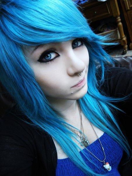 Pretty girls with blue hair