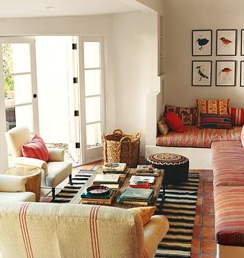 Boho eclectic California informal family room of Amanda Peet