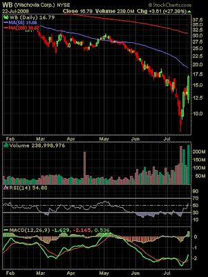 Wachovia stock chart July 22, 2008