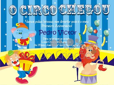 Convite   Tema Circo Vers  O 2