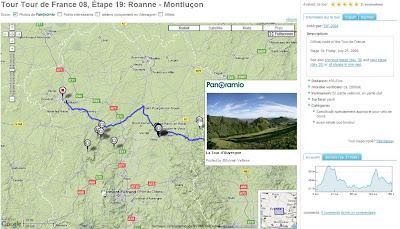 tour de france 2008 avec google maps