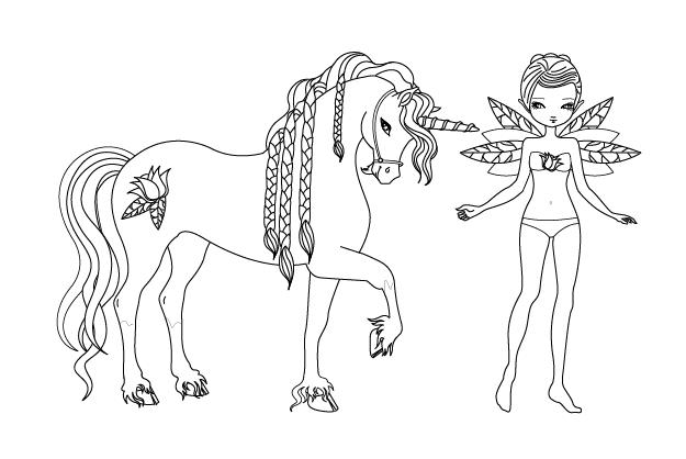 Coloriage De Licorne Ailee Coloriage De Princesse Et Licorne