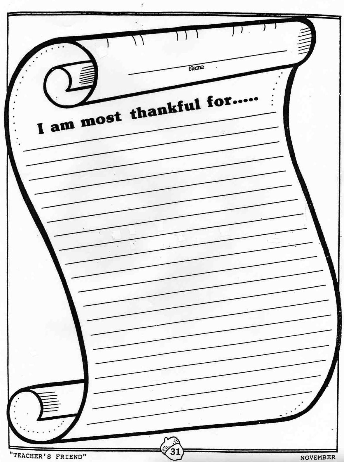 Elementary School Enrichment Activities We Are Thankful