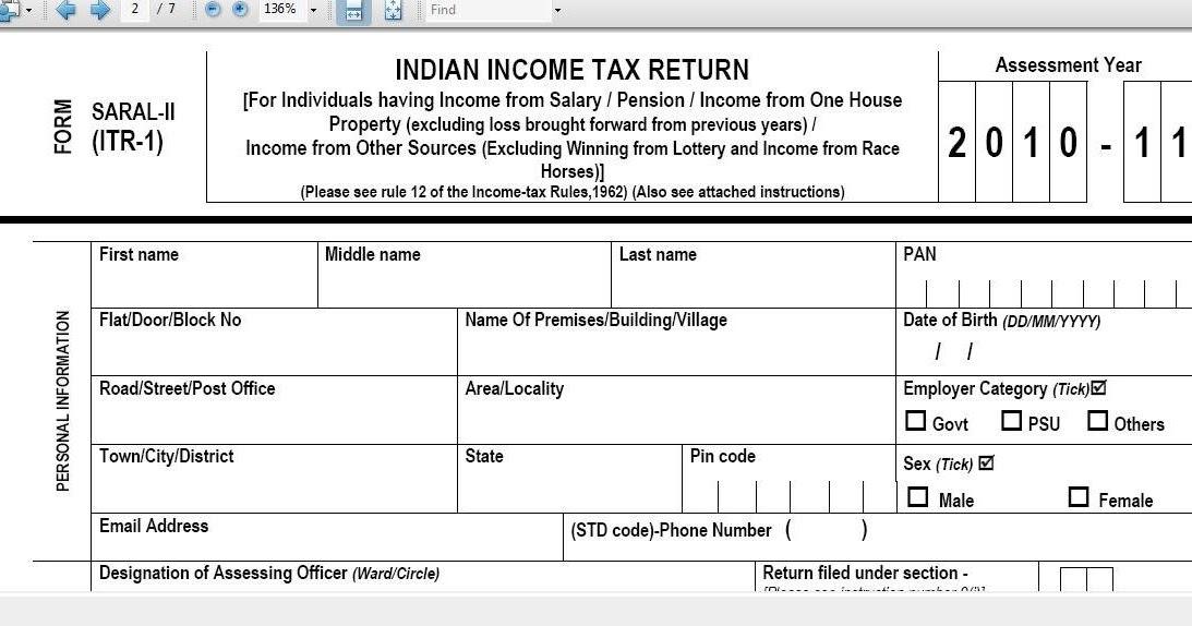 income tax return saral form 2014-15