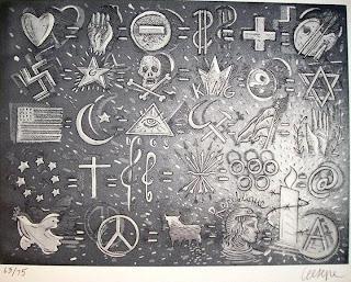 Obra de Ceesepe arte solidario de Amnistia Internacional