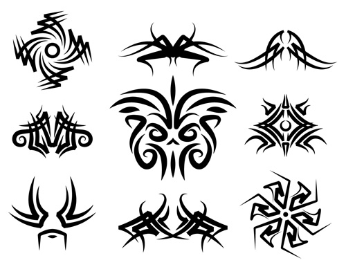 Swirl vector pattern, rusty knobe, tribal tattoo vector art