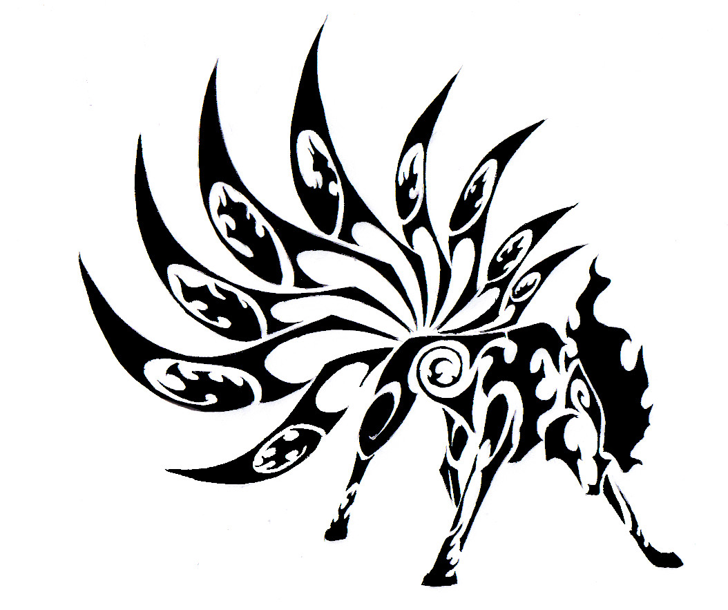 Nine Drawing at GetDrawings | Free download |Tribal Nine Tailed Fox Tattoos