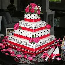 Black Scroll-Work Cake