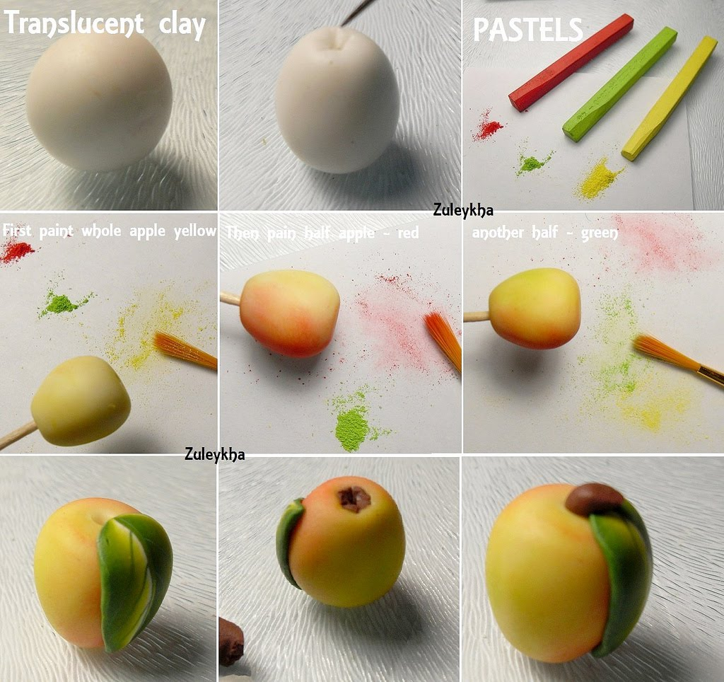 Яблоко из полимерной глины мастер класс  #1