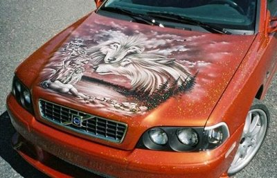 Wolf Airbrush Art on Car Hood | Car Modification 2011  Wolf Airbrush A...