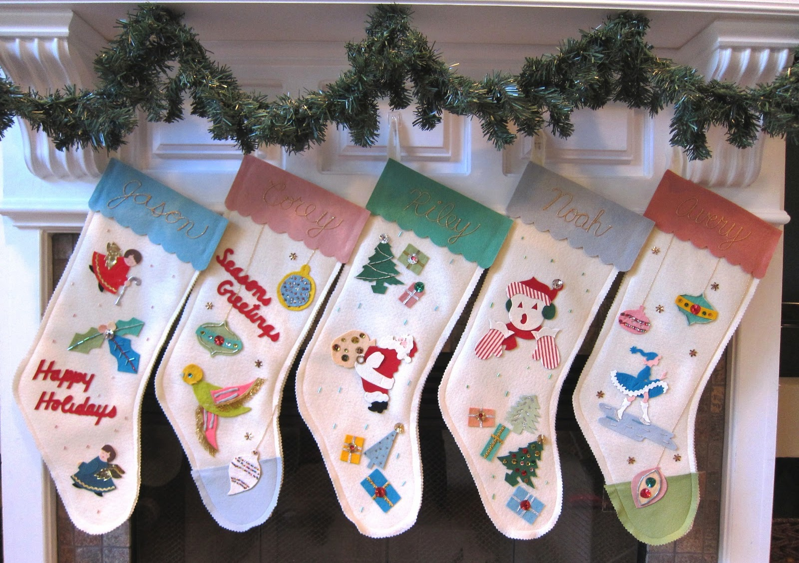 Vintage Christmas Stockings.Corey Moortgat Collage Artist Vintage Christmas Stockings