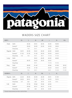Good Morning Patagonia Fishing Accounts Please Find To The Left A High Resolution Image Of Our Wader Sizing Chart Along With Logo