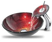 red glass modern bathroom vessel sink