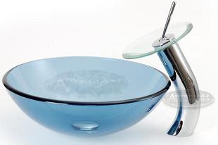 blue modern glass bathroom vessel sink