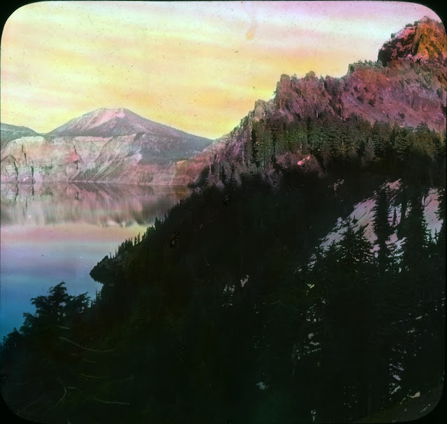 "Image Title: Garden of the Gods Creator: Fred H. KiserImage Title: Sunset on Garfield Peak Image Description: ""And here, it seems are gathered together bits of many wonderful scenes in this marvelous park and blended into one by the colorful tints of a glorious sunset."" Original Format: Lantern slides Original Collection: Visual Instruction Department Lantern Slides. photography-news.com, Photography News, Diana Topan, Crater Lake, Oregon photos, landscape photography"