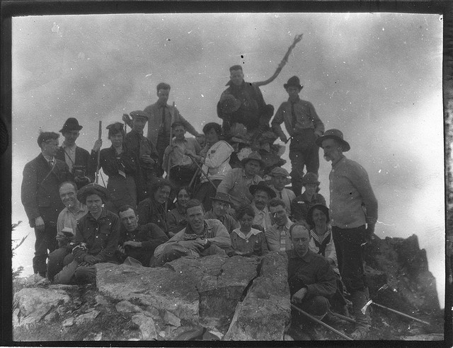 Image Title: Mountaineers on top of Mt. Snoqualmie. Date Original: 1915. Original Form: Gelatin silver prints. Original Collection: Gerald W. Williams Collection